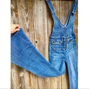AEO denim medium wash jean flared overalls